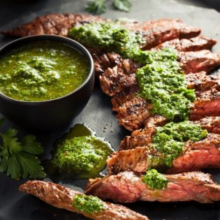 Char Grilled Beef Skirt Steak with Chimichurri Sauce
