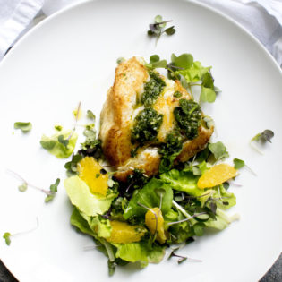 Pan Seared Cod with Citrus Chimichurri served with Orange Microgreen Salad