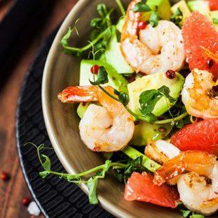 Grilled Shrimp, Grapefruit, Avocado and Watermelon Radish Salad
