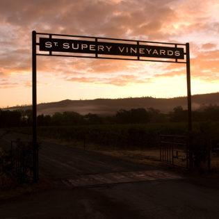 Entrance to Dollarhide Estate Vineyard under an orange sky at dawn