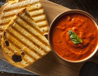 Bacon and Caramelized Onion Grilled Cheese with Creamy Tomato Soup