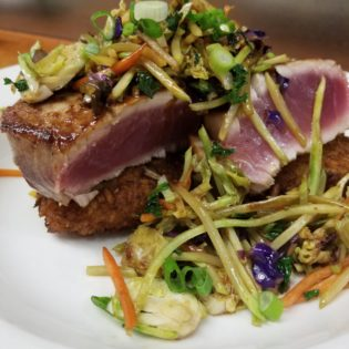 Caramelized Tuna with Warm Asian Slaw