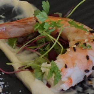 Poached Kauai Shrimp, Miso Lime Aioli