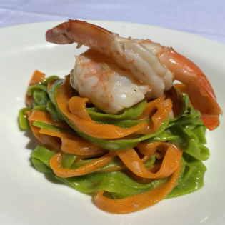 Dueling Tagliatelle with Shrimp