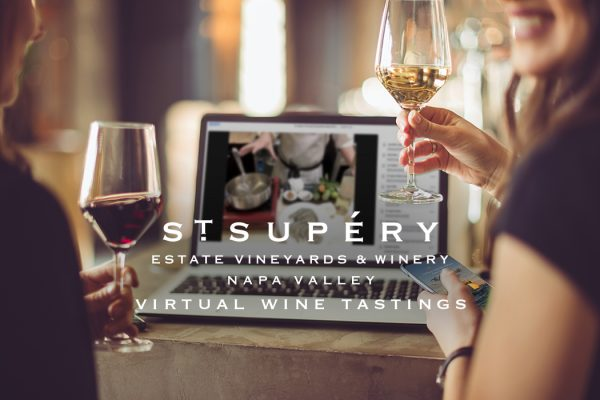 Wine lovers enjoying sustainable virtual wine tasting from napa valley at St. Supéry