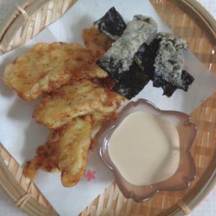 Lemony Tempura Fish and Nori Chips with Grapefruit Mayo-Ponzu
