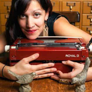 Poet Silvi and her typewriter