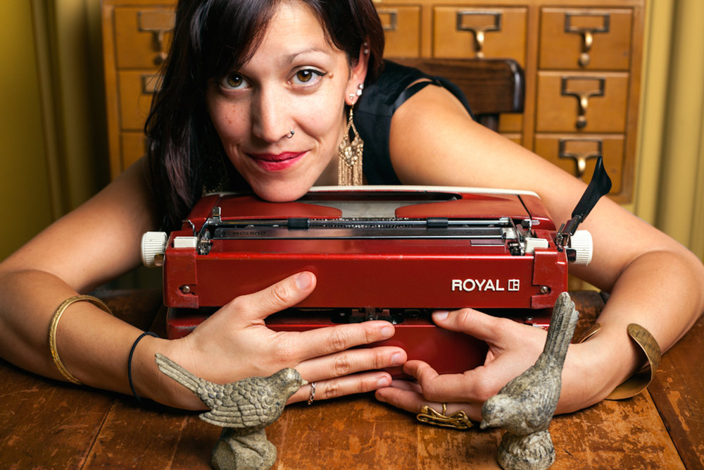 Poet Silvi and her typewriter
