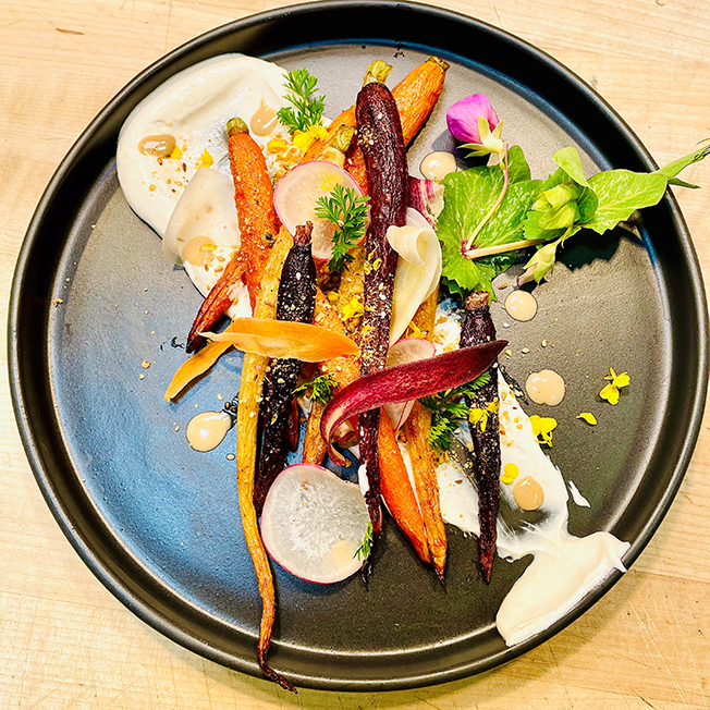 Roast Carrots with Tahini Yogurt and Dukkah