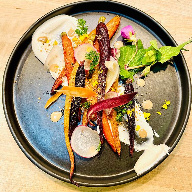 Roast Carrots with Tahini Yogurt and Dukkah
