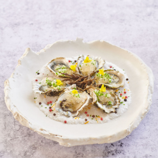 Oysters on Half Shell with Verjus Cucumber Granité