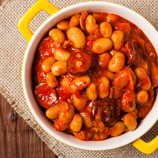 Braised Rancho Gordo Beans and Sausage