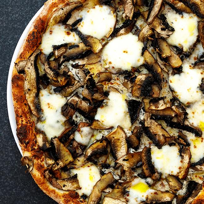 Herb Roasted Mushrooms and Burrata Flatbread