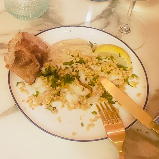 Shrimp Gremolata with White Bean Puree