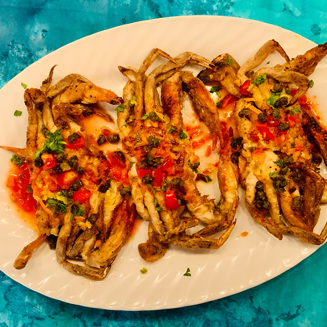 Soft Shell Crabs on Citrus Sauvignon Blanc Beurre Blanc with Fried Capers